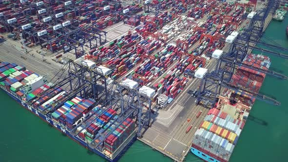 Thumbnail for Top view of Kwai Tsing Container Terminals in Hong Kong