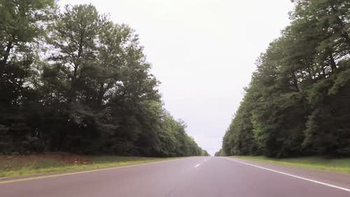 POV point of view - Driving West on Interstate highway through Tennessee.