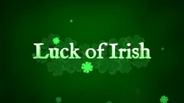 Thumbnail for Luck of Irish text and small green shamrocks with abstract lines