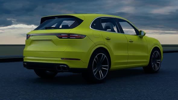 Thumbnail for Yellow Luxury SUV Rear view