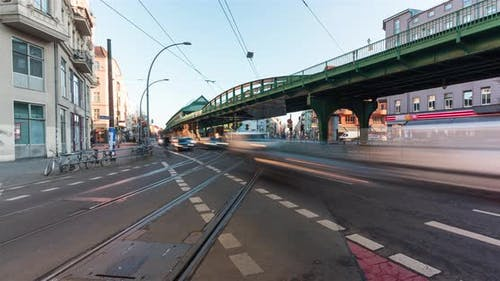Timelapse of a busy street intersection in central Berlin