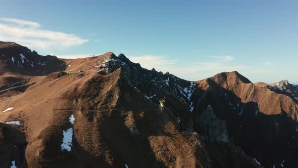 Thumbnail for Aerial View of Pic Du Sancy and Light Clouds After Dawn. France in the Fall
