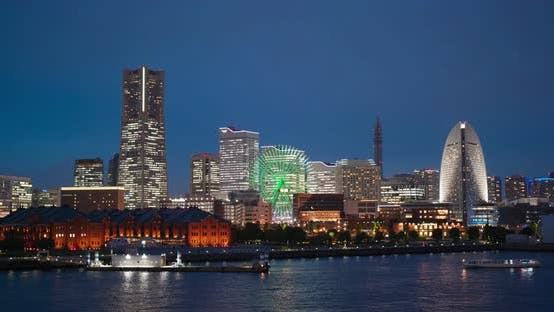 Thumbnail for Yokohama city bay at night