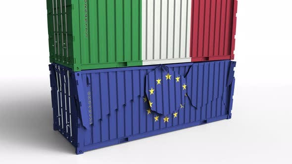 Thumbnail for Container with Flag of Italy Breaks Container with Flag of the EU