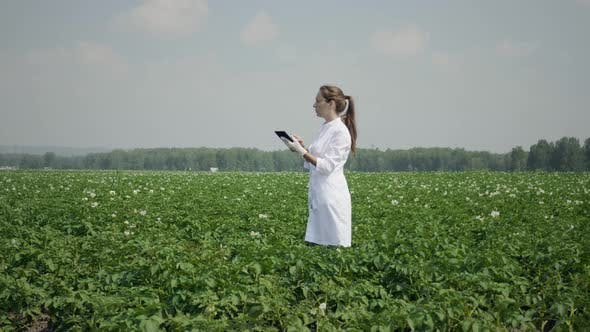 Thumbnail for Female agronomist with digital tablet pc