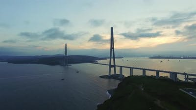 Aerial View of the Russian Bridge From the Mainland to the Russian Island