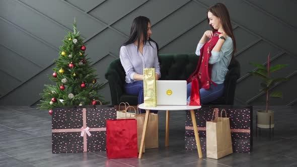 Zwei Freundinnen erwägen Käufe im Online-Shop