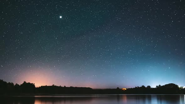 Real Colorful Night Stars Above Lake River