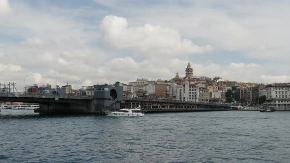 Galata Bridge and Galata Tower from a ferry in Istanbul