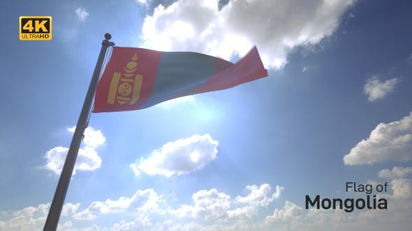 Thumbnail for Mongolia Flag on a Flagpole V4 - 4K