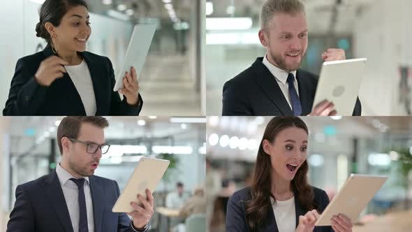 Collage of Young Business People Celebrating Success on Tablet