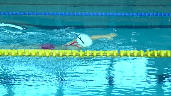 Thumbnail for Swimmer Practicing in Water Swimming Pool