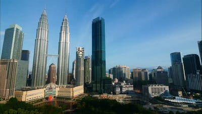 Petronas twin tower in the city at Malaysia
