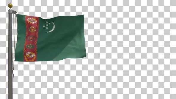 Turkmenistan Flag on Flagpole with Alpha Channel - 4K