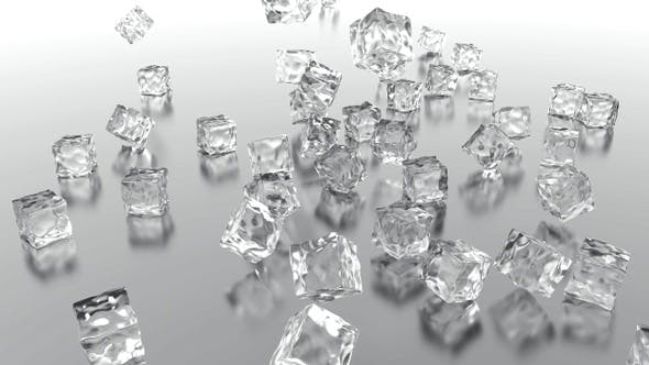 Pure Ice Cube Falling On The Floor