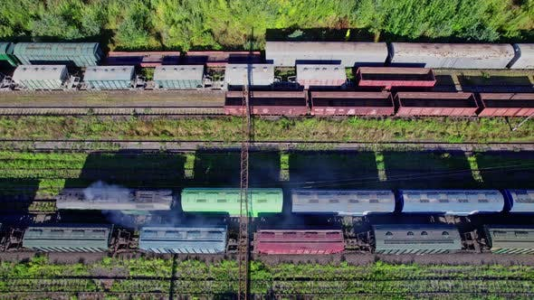 Railway Station with Lots of Lines and Freight Trains