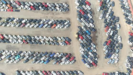 Rows of on cars parked in car parking auction lot