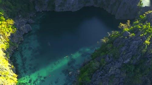 Twin Lagoon Lake in Coron, Palawan, Philippines. Mountain and Sea