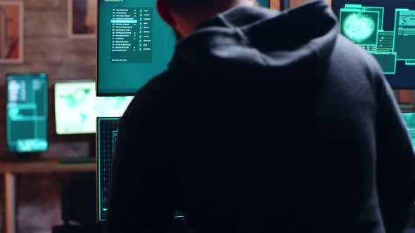 Thumbnail for Male Hacker Typing on Keyboard a Dangerous Malware