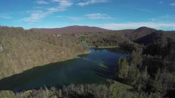 Thumbnail for Aerial view of lakes at Plitvice Park