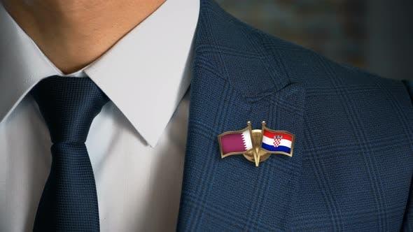 Thumbnail for Businessman Friend Flags Pin Qatar Croatia