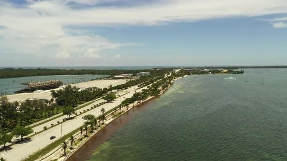 Aerial Rising Reveal Miami Key Biscayne