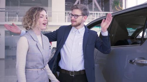 Give Gift Car, Generous Male Makes Surprise To Beloved Female with Eyes Closed and Gives Automobile