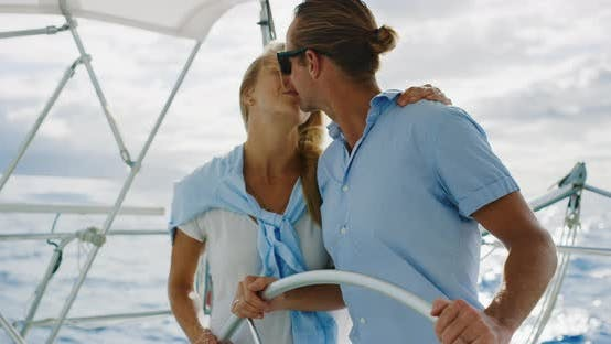 Thumbnail for Happy Couple Sailing on Yacht