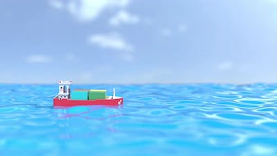 Toy Container Ship Moves at Sea