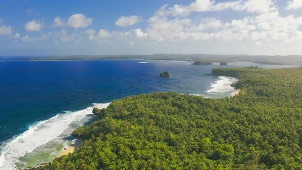Thumbnail for Aerial View Tropical Beach Island and Sea Bay Lagoon, Siargao. Tropical Landscape Hills