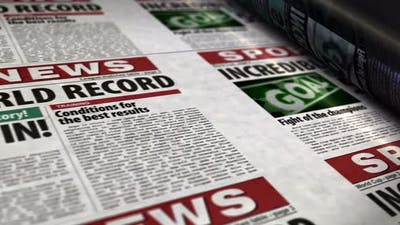 Sport news newspaper printing press