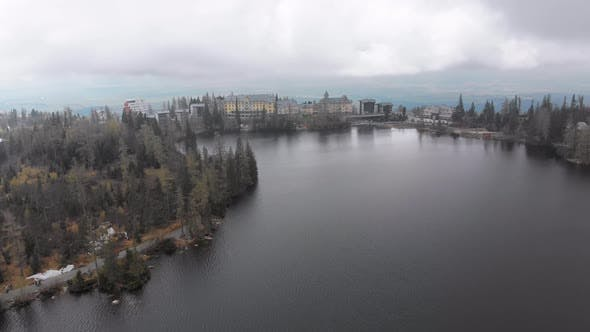 Thumbnail for Aerial View of Strbske Pleso, Slovakia, Mountain Lake in Clouds and Snowy Tatras Mountains