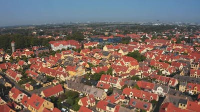Aerial View of the Beautiful Small Yellow Rustic Houses