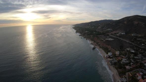 Thumbnail for Encinal Canyon And El Matador State Beach Aerial View At Sunset - Malibu California Usa