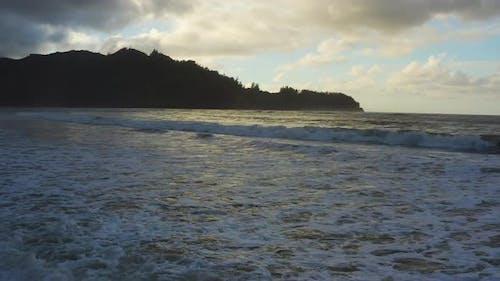 Waves Crashing At Sunset Hanalei Bay Hawaii Kauai Island