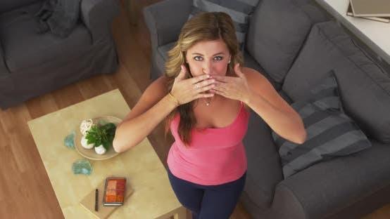 Thumbnail for Beautiful girl blowing kisses and smiling at camera