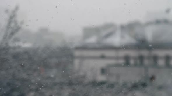Thumbnail for Large Snowflakes Fall Dawn on City Street Slow Motion