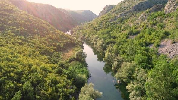 Thumbnail for Scenic aerial view of Cetina river, Blato Na Cetini, Croatia.