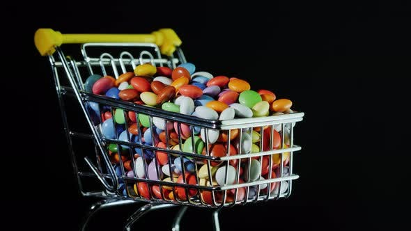 Thumbnail for Small Shopping Cart with Multi-colored Candies