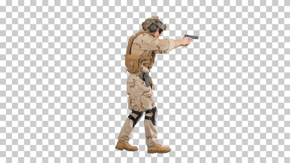 Thumbnail for Armed soldier in camouflage walking and, Alpha Channel