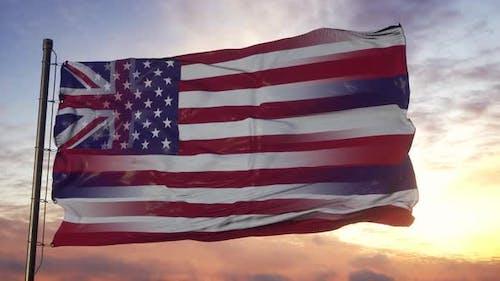 Hawaii and USA Flag on Flagpole