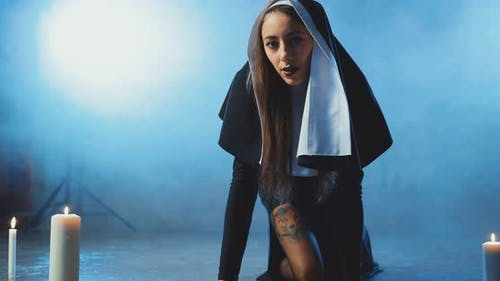 Sexual Nun Tempting and Erotic Crawls to the Camera