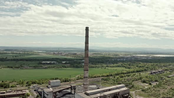 Thumbnail for Aerial Drone View. Coal Power Plant, Big Pipe