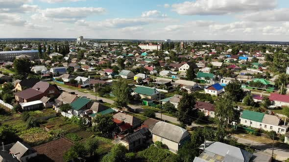 Thumbnail for Top View of Small Town in Central Russia. Moving Sideways