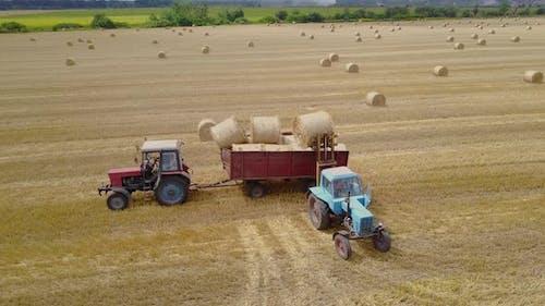 Semi Truck Loading Straw Bales