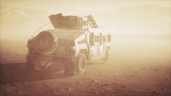 Thumbnail for Military Patrol Car on Sunset in Desert Storm