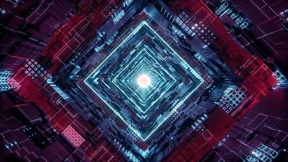 Thumbnail for Loop Rhombus Futuristic Neon Tunnel in