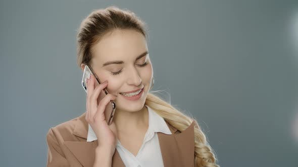 Thumbnail for Happy Business Woman Calliing Mobile Phone. Smiling Girl Using Smartphone
