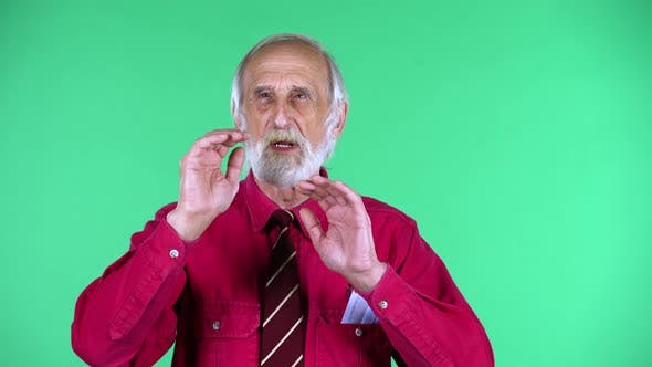 Thumbnail for Portrait of Happy Old Aged Man 70s Screaming Calling Someone, Isolated Over Green Background.