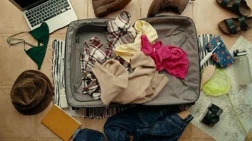 Stressed Person Late for Travel Pack Suitcase